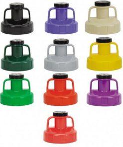 afbeelding met tien verschillende kleuren universeel deksels voor het OilSafe systeem