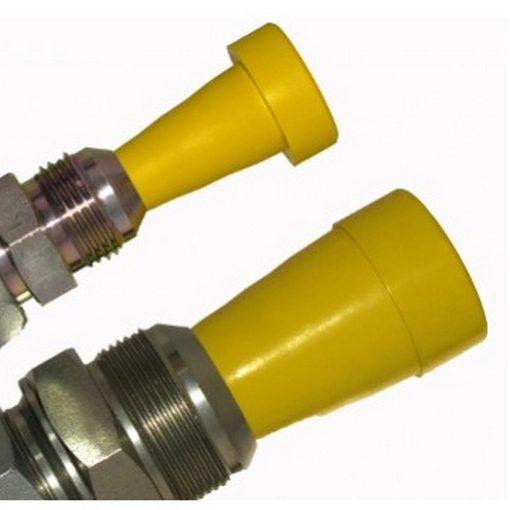 gele servicepluggen in gebruik om leidingen af te stoppen