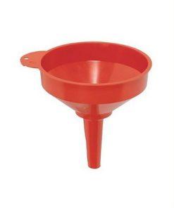 rode trechter met hoge stortrand, ophanghaakje, vaste tuit, geschikt voor bijtende stoffen