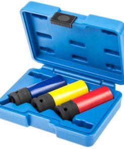 opengeslagen blauwe koffer met drie krachtdoppen in kleuren rood geel en blauw