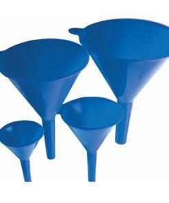 set van vier blauwe trechters in verschillende maten