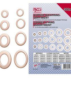 voorzijde assortimentsdoos koperringen met enkele ringen ernaast