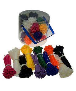 assortimentsbox met 1000 gekleurde bundelbandjes tieraps