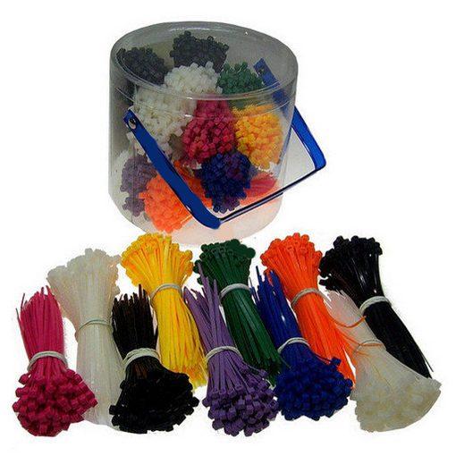 kunststof emmer met 1000 stuks bundelbandjes in verschillende kleuren