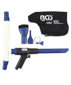 zuig- en luchtblaaspistool set met verschillende accessoires