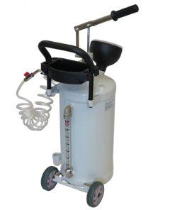 mobiele oliedispenser 24 liter inhoud, verrijdbaar met handpomp en twee meter slang