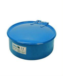 lichtblauwe onderdelen uitlekbak met deksel en spoelrooster voor opslag en reiniging van vette onderdelen