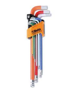 set van negen gekleurde haakse stiftsleutels met kogelkop extra lang