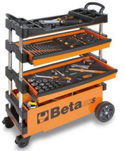 inklapbare en verrijdbare gereedschapswagen kleur oranje