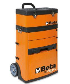 oranje gereedschapstrolley van beta met afneembare kist en ladeblok