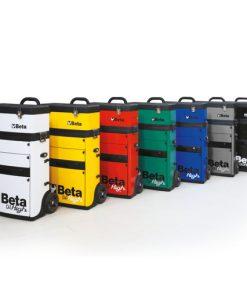 gereedschapstrolley in 7 verschillende kleuren op een rij