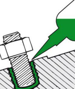 schematische tekening van de toepassing van schroefdraad borgmiddel grote sterkte groen