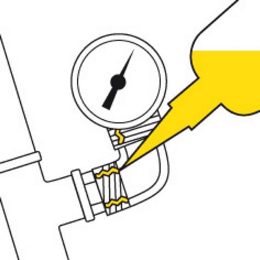 schematische tekening van het gebruik van schroefdraad afdichting geel